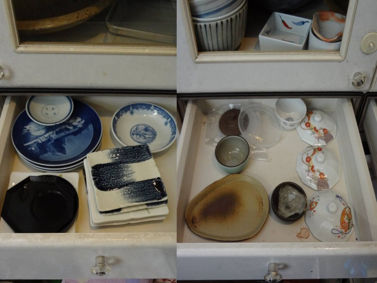 SHIORINAのお片付けサポートキッチン食器棚引き出しBEFORE画像
